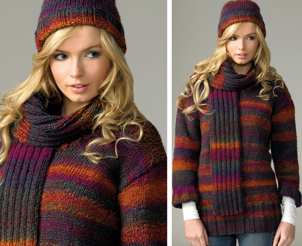 James C Brett Marble Chunky Sweater Hat Scarf Knittting Pattern JB071