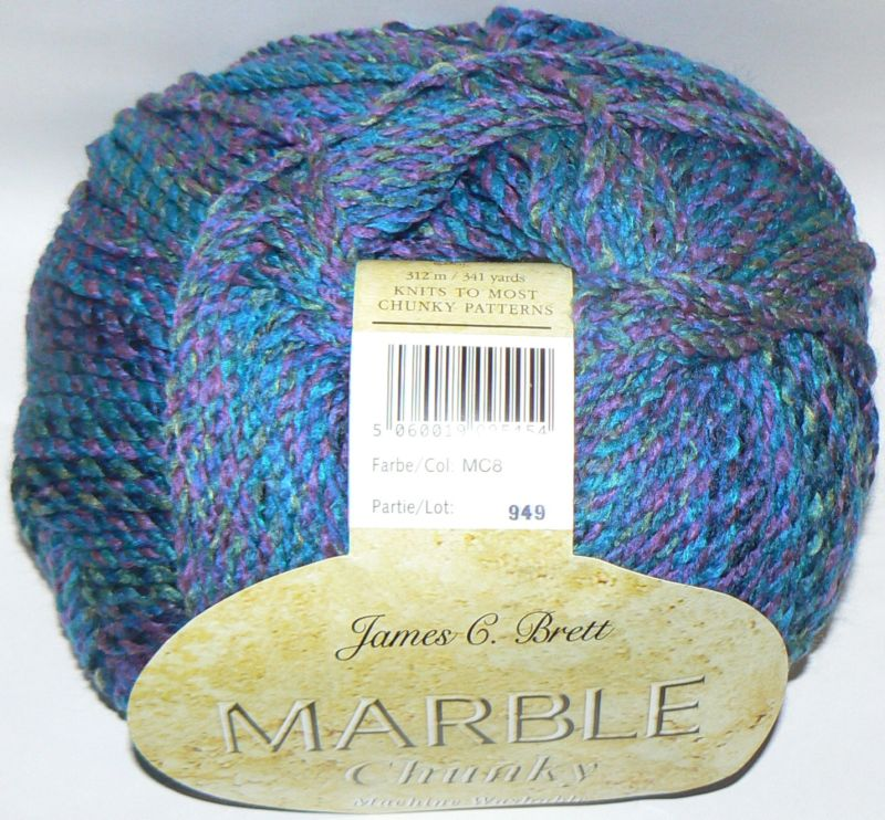 Knitting Patterns For Marble Chunky Yarn : James C Brett Marble Chunky Yarn MC8 Jeweltone