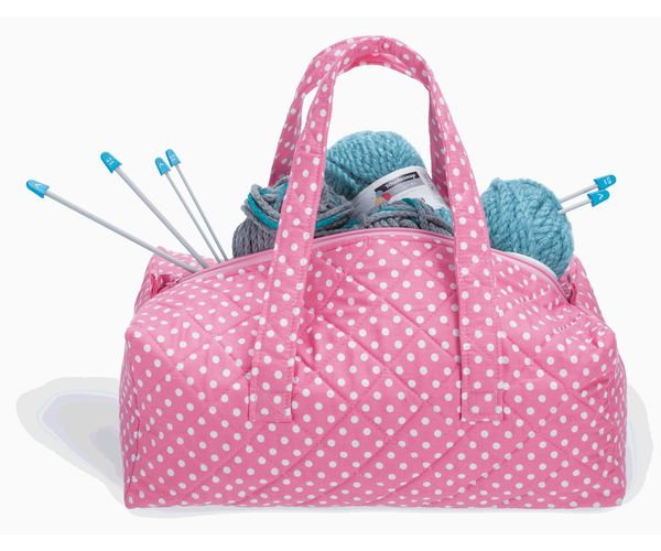 Knitted Bags Pattern : Milward Knitting Bag Pink Dot
