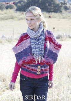 Knitting Patterns Lion Brand : Sirdar Indie Waistcoat Knitting Pattern 9592 DISCONTINUED 1